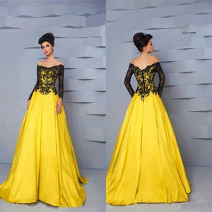Yellow Lace Long Sleeves Gorgeous Formal Cheap Charming Prom Gown, Party Evening Gown, NDPD0022