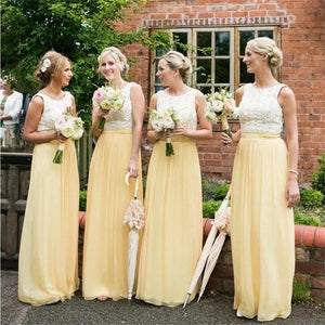 Long Yellow Chiffon Cheap Sleeveless Lace Top Simple Bridesmaid Dresses , Wedding Guest Dresses , PD0263