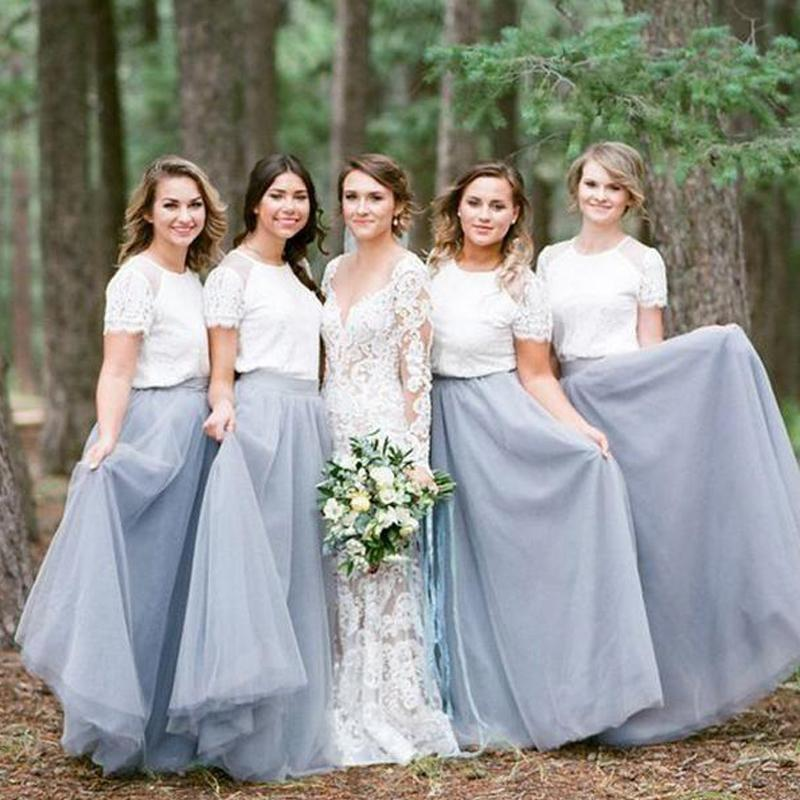 Two Pieces Short Sleeves Grey Cheap Long Bridesmaid Dresses Online, WG202