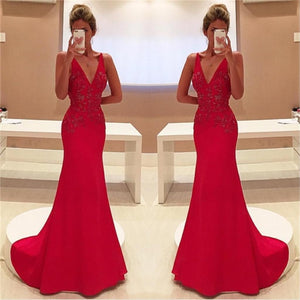 Long Mermaid Red Sexy Deep V-Neck Formal Evening Pretty Prom Dress  , PD0273
