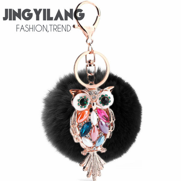 8cm color owl rex rabbit fur ball keychain 8colors fur pompom keyring