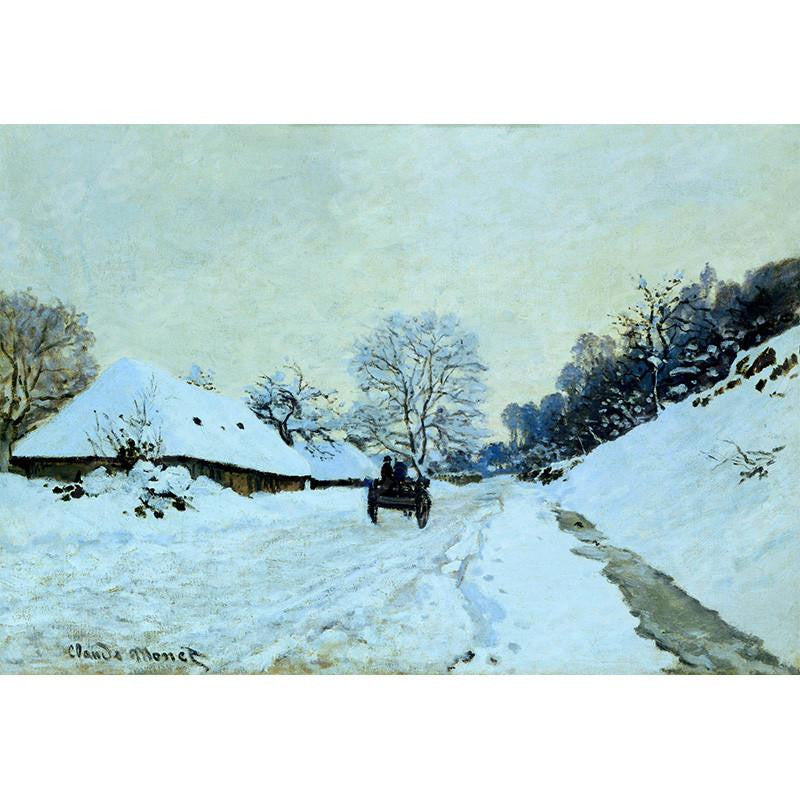 Cart On The Snow Covered Road With Saint-Simeon Farm Claude Monet Painting Soul For Style