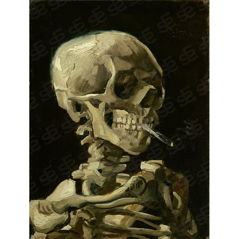 Skull of a Skeleton with Burning Cigarette Vincent Van Gogh Painting Soul For Style