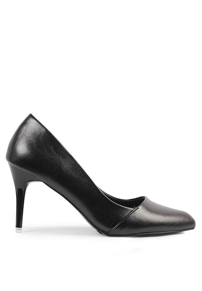 a390b6d69d6 Pointed Heel Court Shoes Plain Black