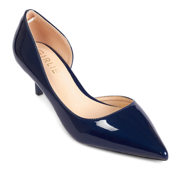 2604f26885a Kitten Heel Pointed Toe Navy Blue Glossy Patent Leather - www.girlie.uk.