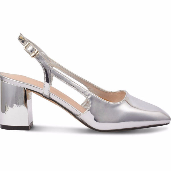 Glossy Patent Leather Block Heels Silver Metallic Color with Strap -  www.girlie.uk