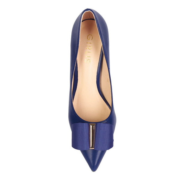 ... Bow Top Gold Detail Pointed Heel Court Shoes Navy Blue - www.girlie.uk  ... 7503cbbe9