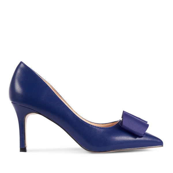 buy cheap arriving low price sale Bow Top Gold Detail Pointed Heel Court Shoes Navy Blue
