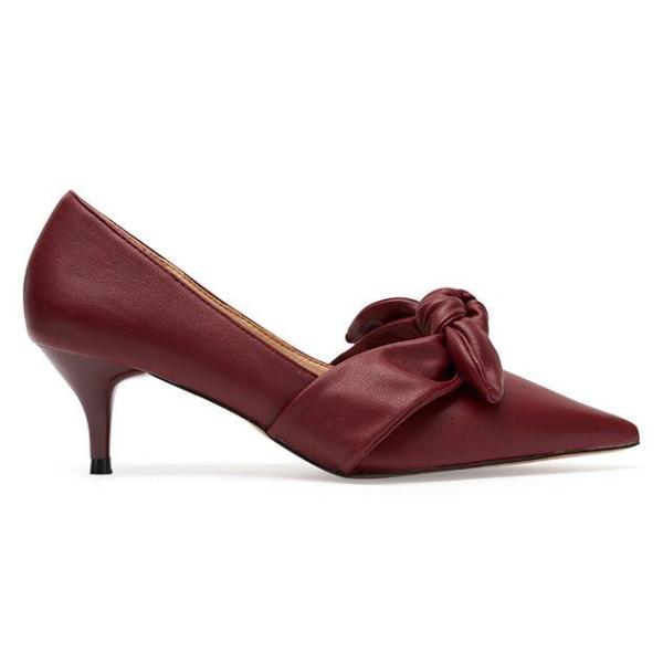Kitten Heels Bow Top Detail Burgundy Red/ Black - www.girlie.uk.com