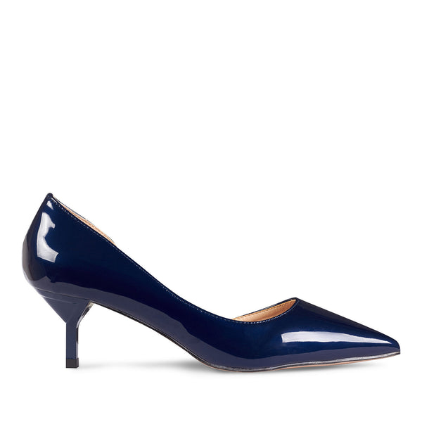 Kitten Heel Pointed Toe Navy Blue Glossy Patent Leather - www.girlie.uk.