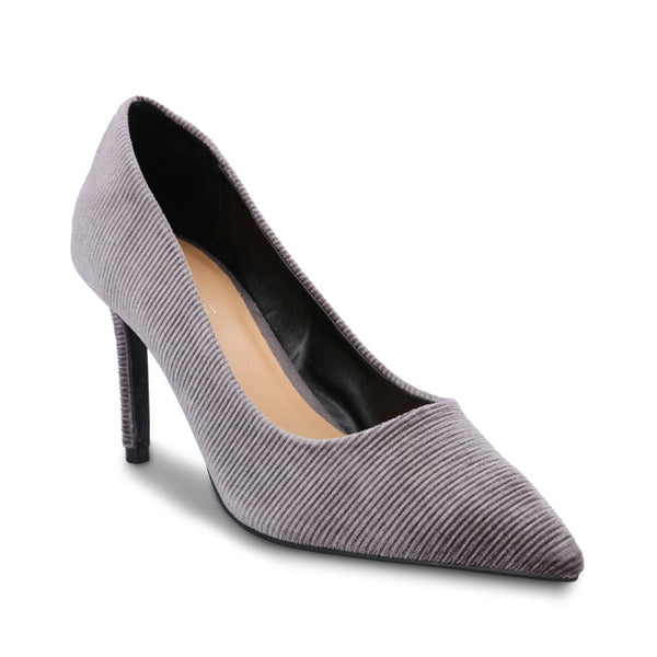 Elegant Veined Velvet Pointed Toe Court Shoe - www.girlie.uk.com