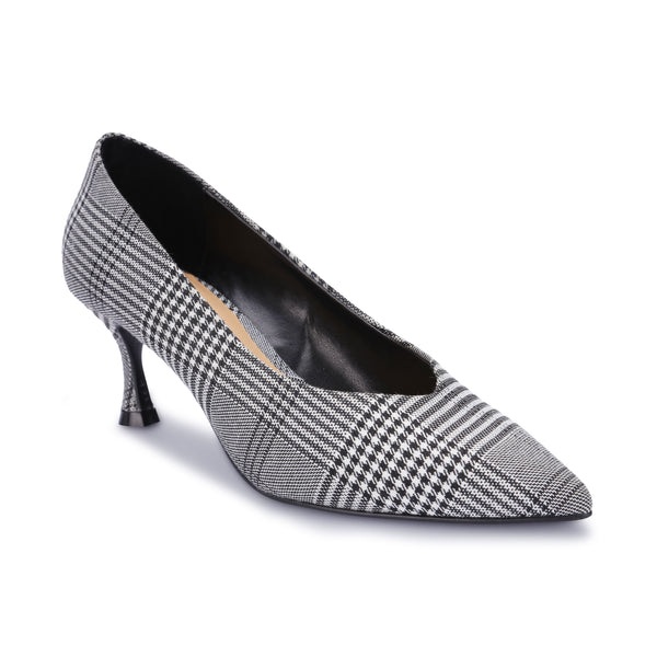 Plaid Caro Check Pattern Fabric Cuban Heel Vamp Pumps Court Shoes - www.girlie.uk.com