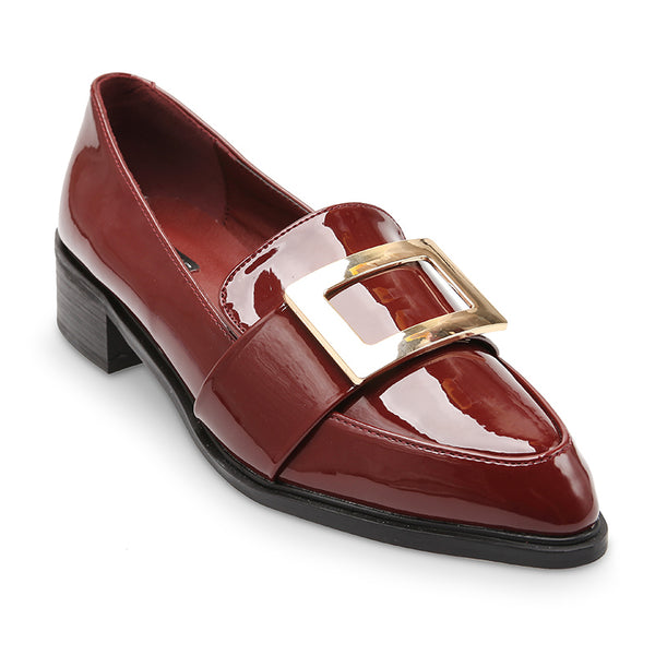 Top Front Gold Buckle Band Detail Patent Leather Loafers - www.girlie.uk.com