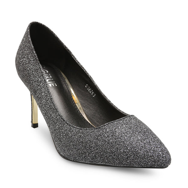 Glitter Shimmered Mid Heel Court Shoes
