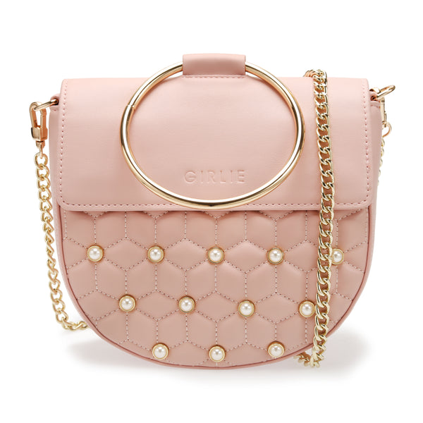 Luxury Gold Round Metal Handle Embellished Pearl Quilted Pattern Cross Body  Top Handle Saddle Bag Pastel