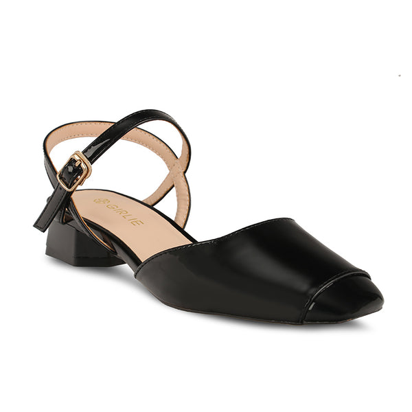 Patent Leather Square Closed Toe Low Block Heel Sandals - www.girlie.uk.com