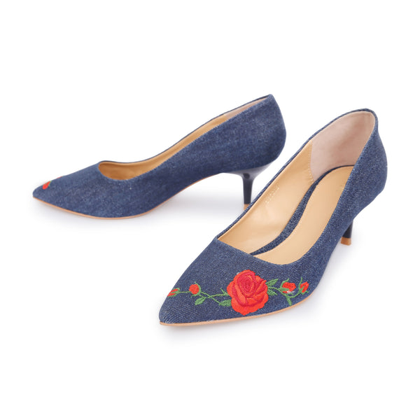 1107f24a5da8 Embroidered Red Rose Vine Fabric Mid Heel Court Shoes