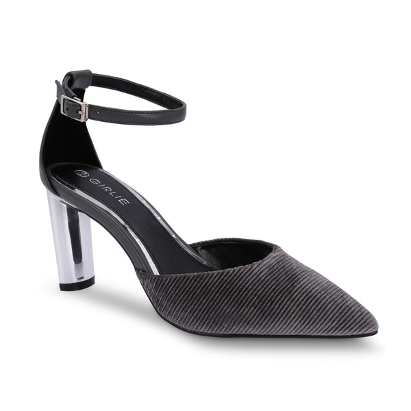 Ankle Strap Streaked Veined Ribbed Velvet Mule Metallic Slim High Heels - www.girlie.uk.com