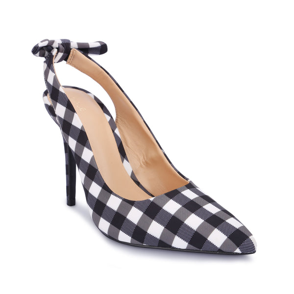 Plaid Check Pattern Rear Flat Bow Elastic Strap Closure Slingback Stiletto - www.girlie.uk.com