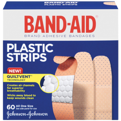 Band-Aid Brand Adhesive Bandages Plastic Strips Assorted 60 Count