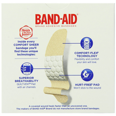 Band-Aid Brand Adhesive Bandages Sheer Strips Assorted 60 Count