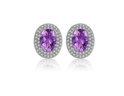 earring amethyst silver shape adore stone proddetail hoop earrings round