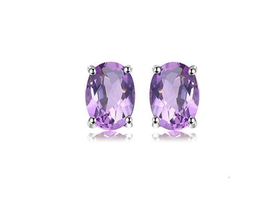 earrings il steel small birthstone studs jewelry stainless listing stone stud amethyst purple