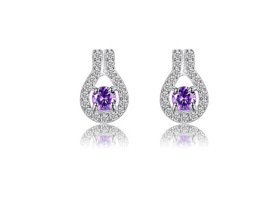 adore stone proddetail earring amethyst round shape hoop earrings silver