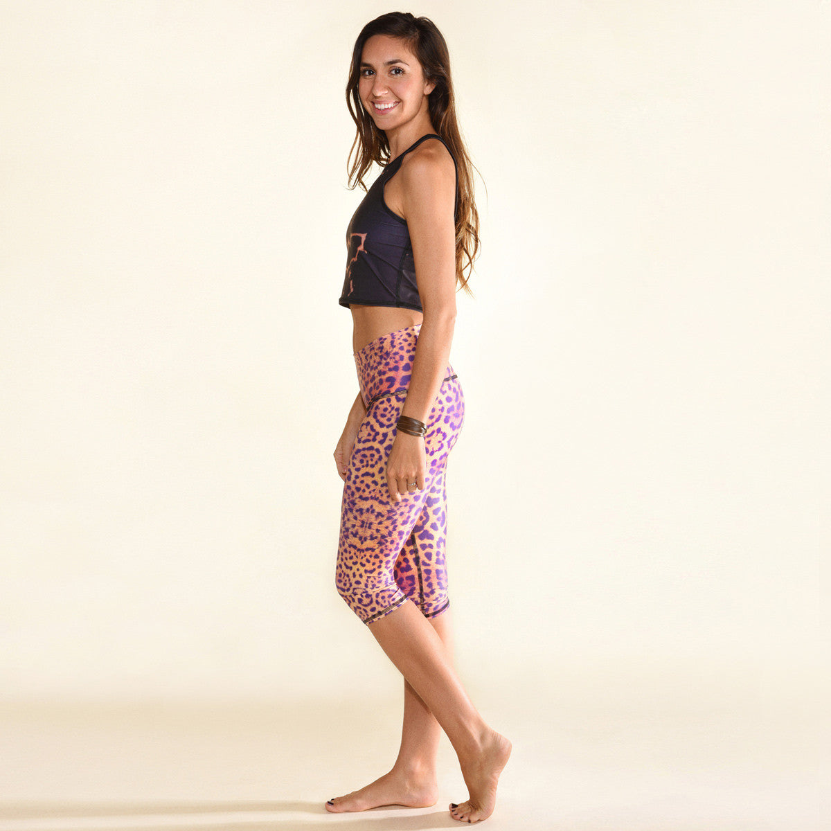 ECO-FRIENDLY YOGA CAPRI LEGGINGS PURPLE AWAKENING GODDESS