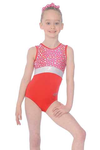Girls Gymnastics Leotard -Poppy- Red / Blue - Sleeveless Leotard - The Zone