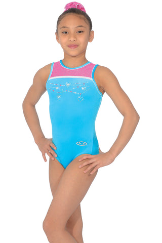 Charmed - Sleeveless Girls Gymnastics Leotard - Pink / Blue - The Zone