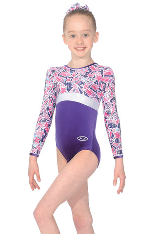 Halley - Long Sleeve Girls Gymnastics Leotard- Purple - The Zone