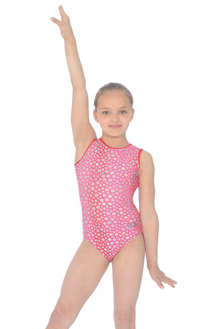 Girls Gymnastics Leotard - Red / Blue - Poppy Print Sleeveless Leotard - The Zone
