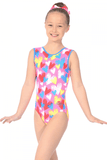 Cherub Print  - The Zone Girls Gymnastics Leotard - Pink-  Sleeveless
