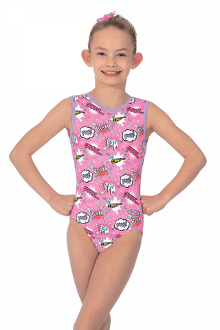 Comic Print  - The Zone Girls Gymnastics Leotard - Pink -  Sleeveless