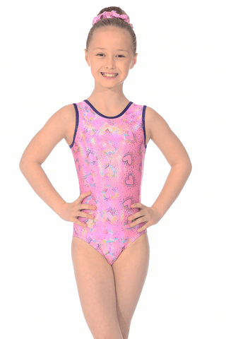 Cupid  Print  - The Zone Girls Gymnastics Leotard - Pink-  Sleeveless