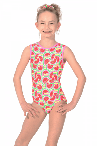 Watermelon Print  - The Zone Girls Gymnastics Leotard - Red / Green -  Sleeveless