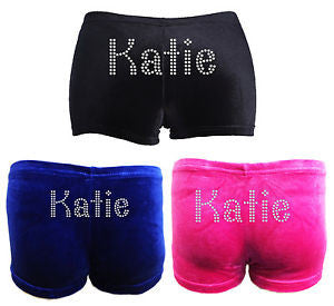 f6449a96dcd5 Gymnastics Shorts Personalised- Girls - Black /Pink/ Blue Velour - Free  Delivery