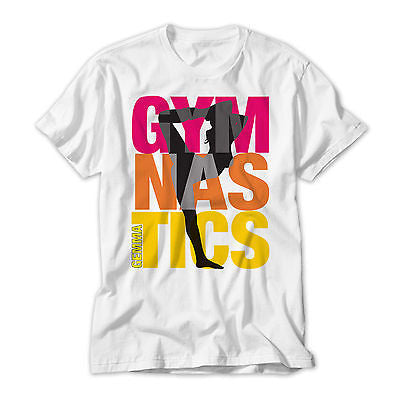 Personalised Gymnastics Printed  T Shirt - White, Mulit