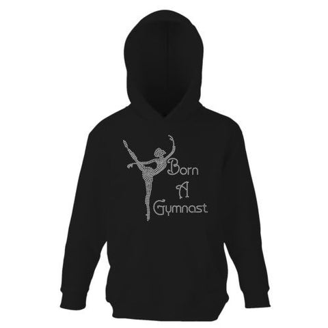 Gymnastics Hoodie  Girls - Born A Gymnast  - Pink, Hot Pink, Black