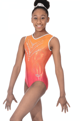 Savannah Sleeveless Leotard - The Zone Girls Gymnastics Leotard - Orange