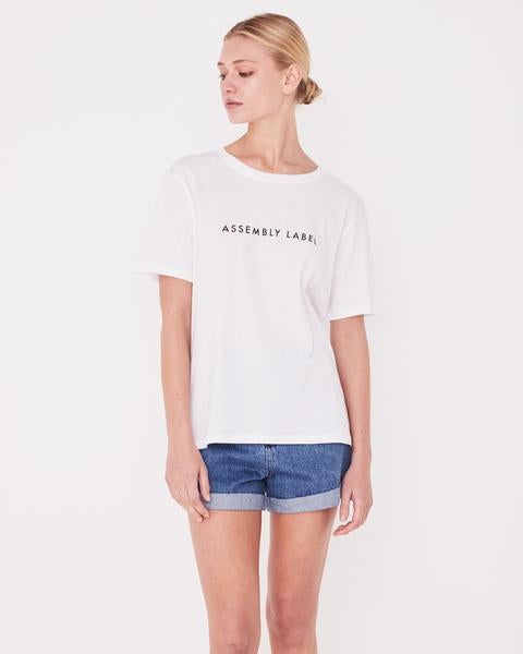 Logo Cotton Crew Tee Woman | White/black print