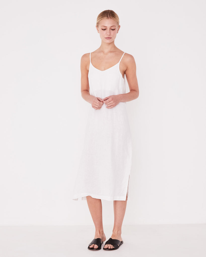Linen Slip Dress | White