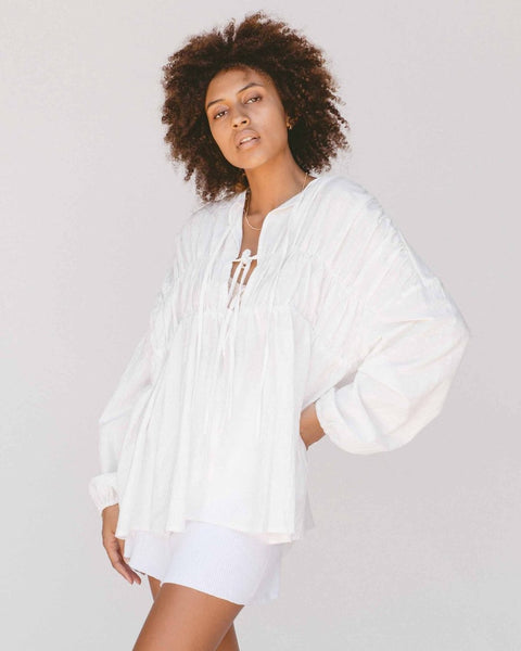 Penny Smock Blouse | White
