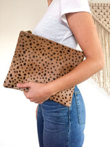 Oversized Clutch 'Audrey' - Cheetah Hair on HIde