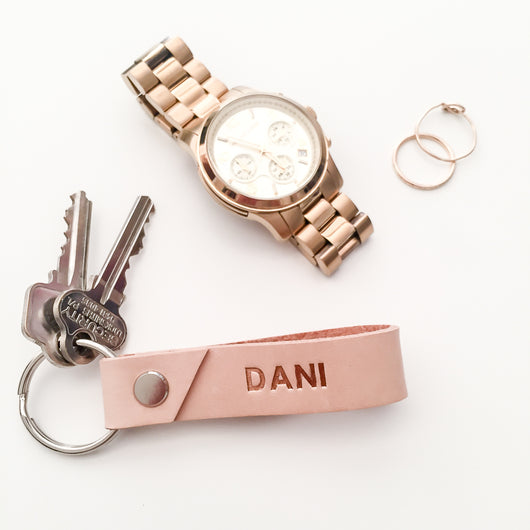 Hot Foil Personalised Leather Key Ring - Natural