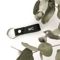Personalised Leather Key Ring - Black