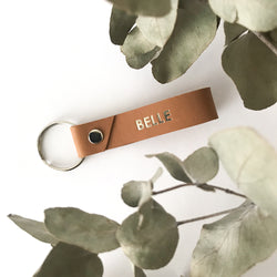 Personalised Leather Key Ring - Dark Nude