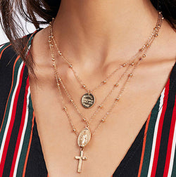 Cross Multilayer Necklace
