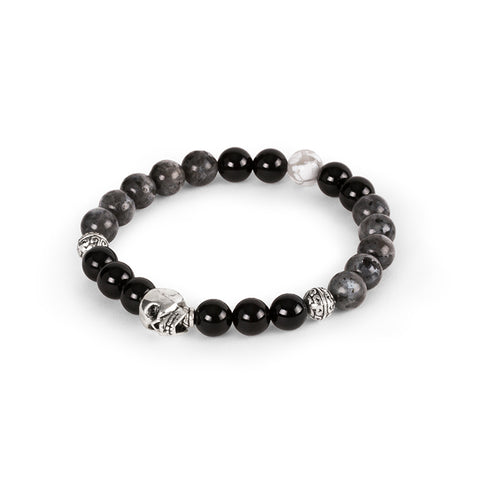 Elasticized black and silver bracelet | Bracelet extensible noir et argent